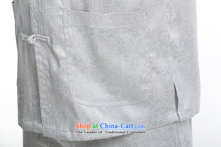 Men short-sleeved Tang Dynasty Summer New Men Heung-cloud yarn silk Tang dynasty in his shirt-sleeves blouse of older men Tang blue set of聽175 pictures, prices, brand platters! The elections are supplied in the national character of distribution, so action, buy now enjoy more preferential! As soon as possible.