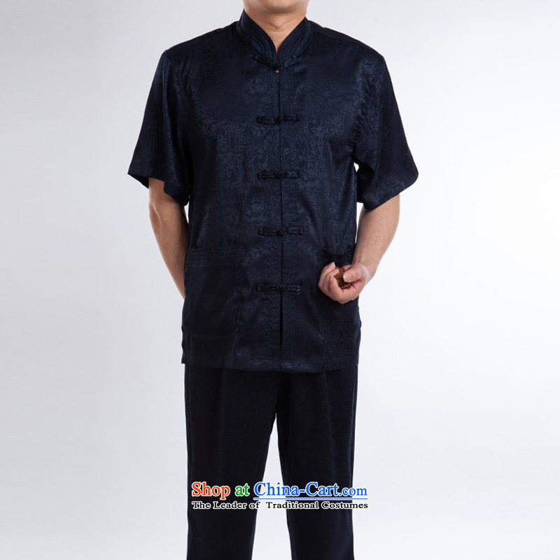 Men short-sleeved Tang Dynasty Summer New Men Heung-cloud yarn silk Tang dynasty in his shirt-sleeves blouse of older men Tang blue set of聽175