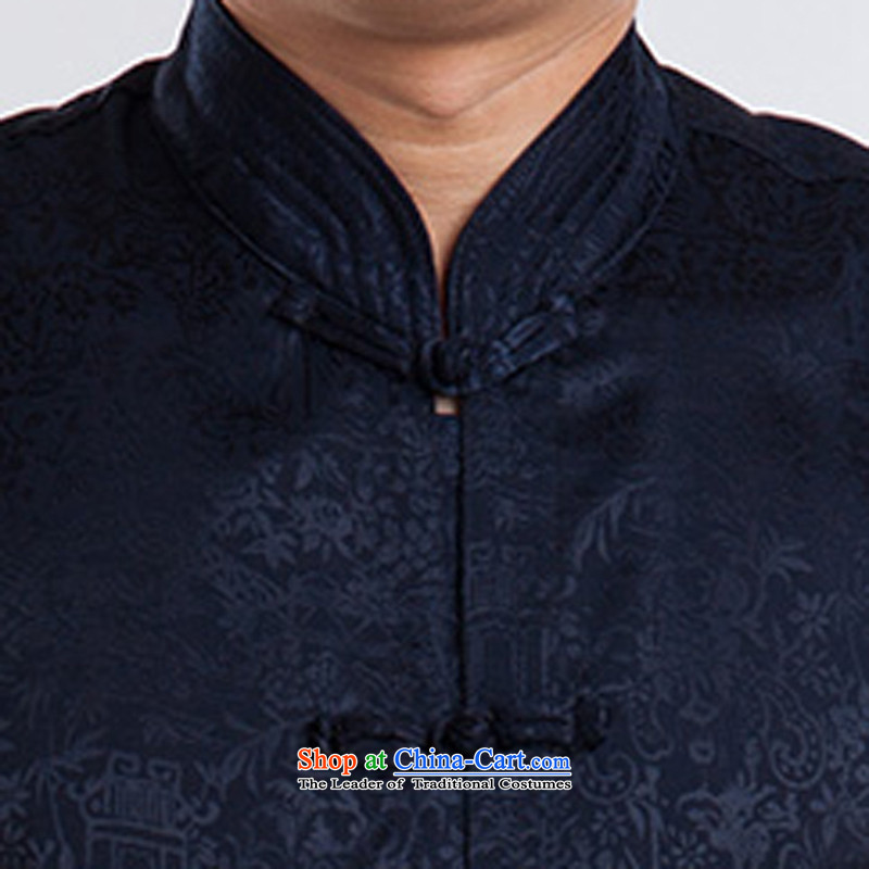 Men short-sleeved Tang Dynasty Summer New Men Heung-cloud yarn silk Tang dynasty in his shirt-sleeves blouse of older men Tang blue聽-print of a set of 175 MORE YI) , , , shopping on the Internet