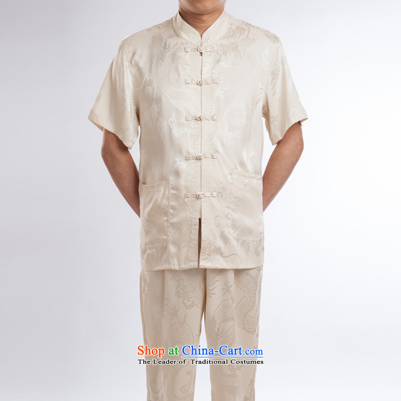2015 Spring_Summer Load China wind men short-sleeved T-shirt, Tang dynasty older men and silk dress Chinese Taiji Kongfu wear beige set?190