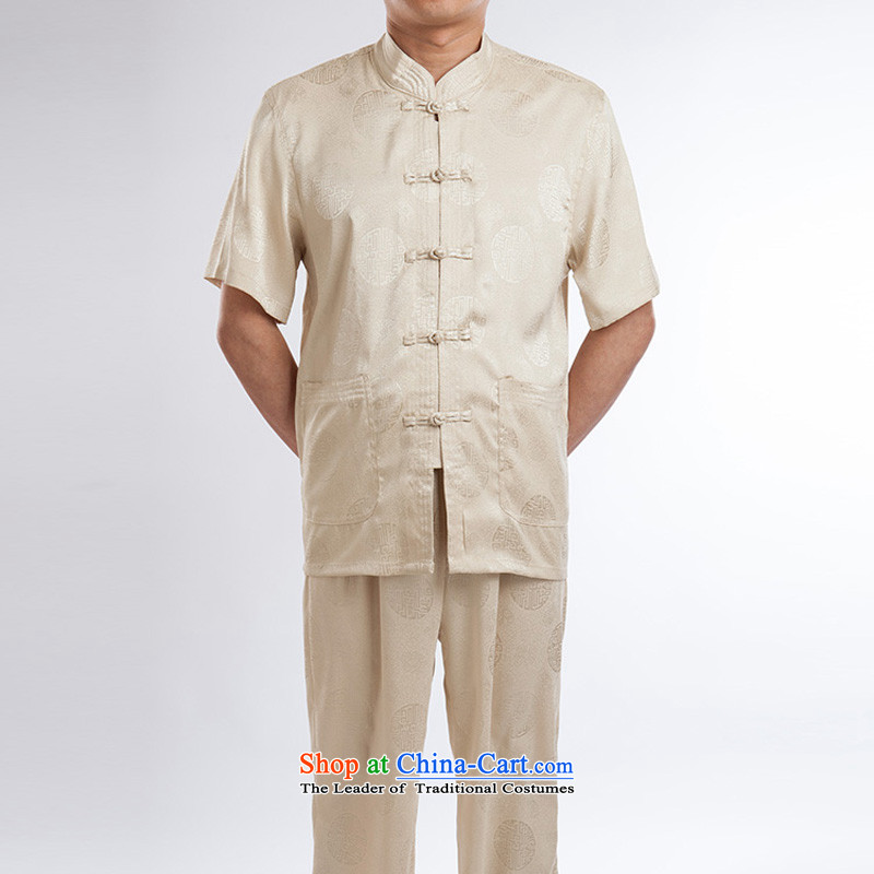 Tang Dynasty men upscale silk Tang dynasty summer short-sleeved older boutique summer beige set of�0