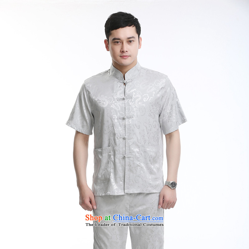 Tang dynasty new male short-sleeved Tang Dynasty Package in older men casual summer Chinese clothing elderly gray set of?180
