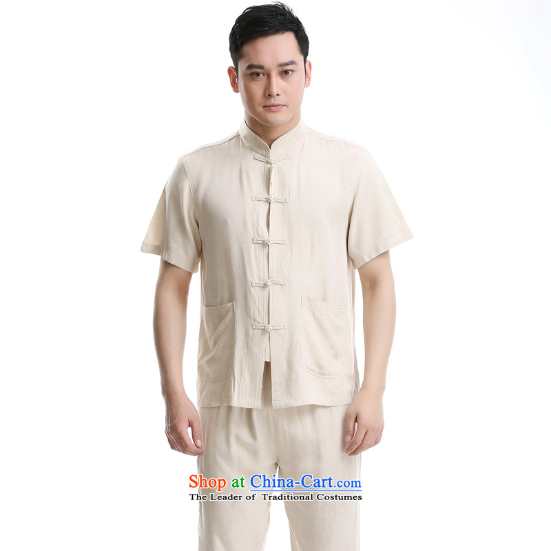 The new product China wind up charge-back collar Tang dynasty short-sleeved T-shirt, beige set of pure cotton?175