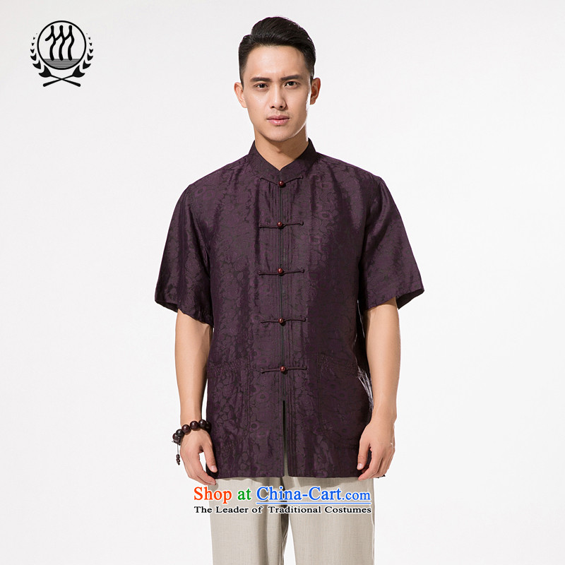 Bosnia and thre line short-sleeved Tang dynasty summer new men incense cloud male silk yarn Tang dynasty in his shirt-sleeves blouse of older men Tang Dynasty Heung Deep purple?M_170 cloud yarn
