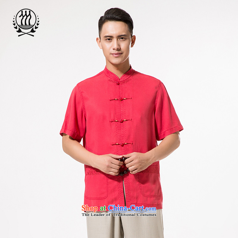 Bosnia and the new summer line thre men tencel short-sleeved T-shirt China wind embroidery short-sleeved blouses bandwidth Tang large national costumes father replacing聽XXL_185 dark red