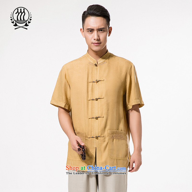 The new man TENCEL A mock-neck disc short-sleeved T-shirt detained men in Tang Dynasty older very casual Tang Dynasty Chinese silk short-sleeved T-shirt to intensify his father with pale yellow?XL_180