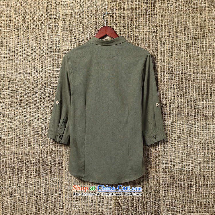Dan Jie Shi Autumn Chinese Wind men casual shirts in large flows of linen with solid color shirt Tang cotton linen collar men olive聽L picture, prices, brand platters! The elections are supplied in the national character of distribution, so action, buy now enjoy more preferential! As soon as possible.