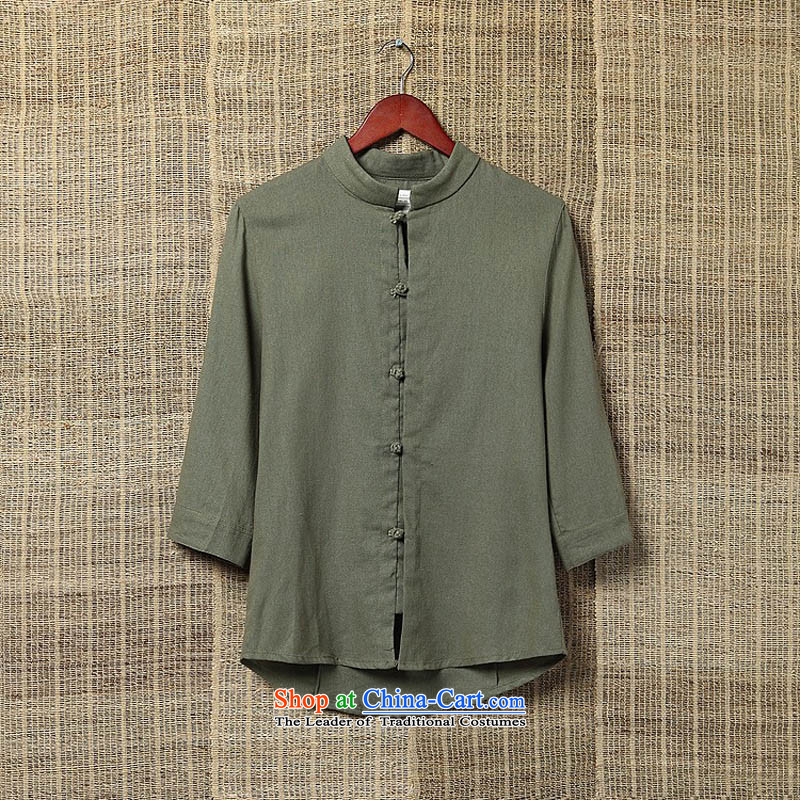 Dan Jie Shi Autumn Chinese Wind men casual shirts in large flows of linen with solid color shirt Tang cotton linen collar men olive聽L