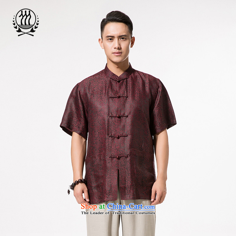 Bosnia and thre line short-sleeved Tang dynasty summer new men incense cloud male silk yarn Tang dynasty in his shirt-sleeves blouse of older men Tang dynasty incense cloud yarn dark red�XL/180
