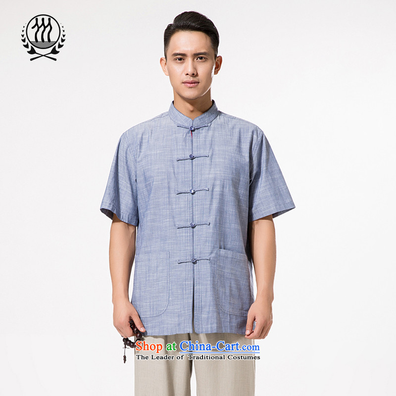 The new products and thre men short-sleeved T-shirt linen, Mr Tang dynasty men cotton linen tunic gray-blue Chinese leisure?L/175