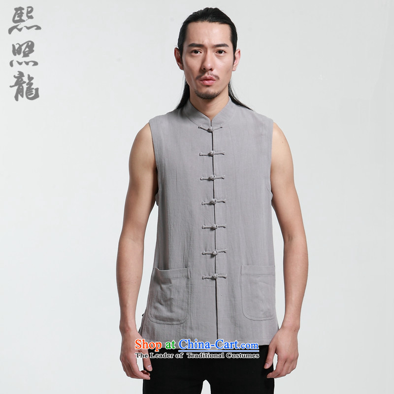 Hee-snapshot lung original linen adhesive, a Chinese man Chinese wind up manually traditional dress sleeveless Kampala shoulder summer light gray聽XL