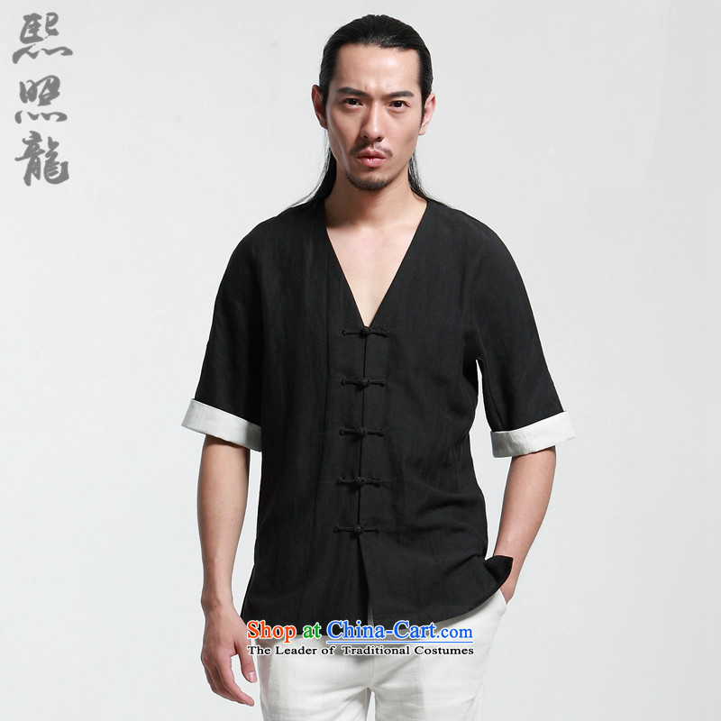 Hee-Snapshot Dragon 2015 Summer new men with short-sleeved shirt Tang V-Neck New Chinese improved thin stylish Tang-pack Black燣