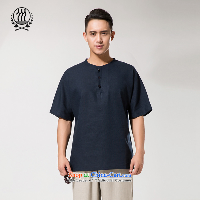 The new summer China wind men round-neck collar kit and Tang dynasty cotton linen cotton linen short-sleeved shirt relaxd casual comfortable cotton linen men short-sleeved T-shirt燲XXL_190 Dark Blue