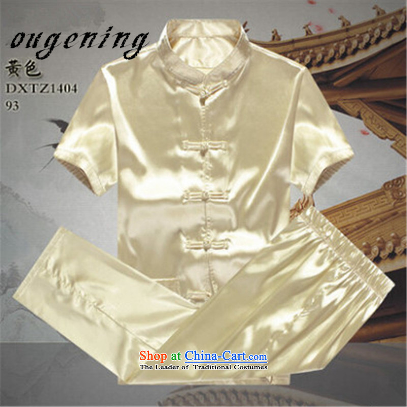 The name of the 2015 Summer of OSCE stylish men Tang Dynasty Package summer short-sleeved of older persons in the elderly men's father and grandfather Tang dynasty summer Taiji Boys?175/L yellow