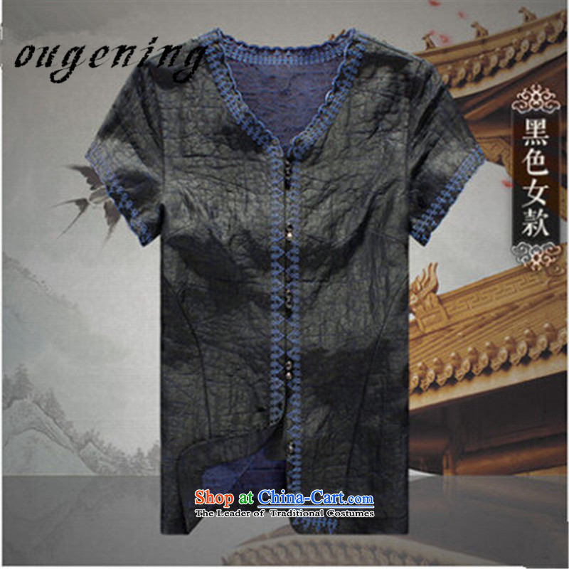 The OSCE, 2015 summer, upscale lemonade men short-sleeved shirt population emulation men disc buttoned, China wind couples incense cloud yarn Tang dynasty men black women燤170_88