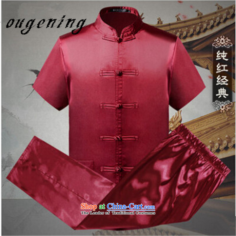 The OSCE, in the summer of 2015, the name of the older short-sleeved gown kit men in Tang Dynasty shirt father older Chinese shirt tai chi morning probed into summer red Solid Color?XXL185/100