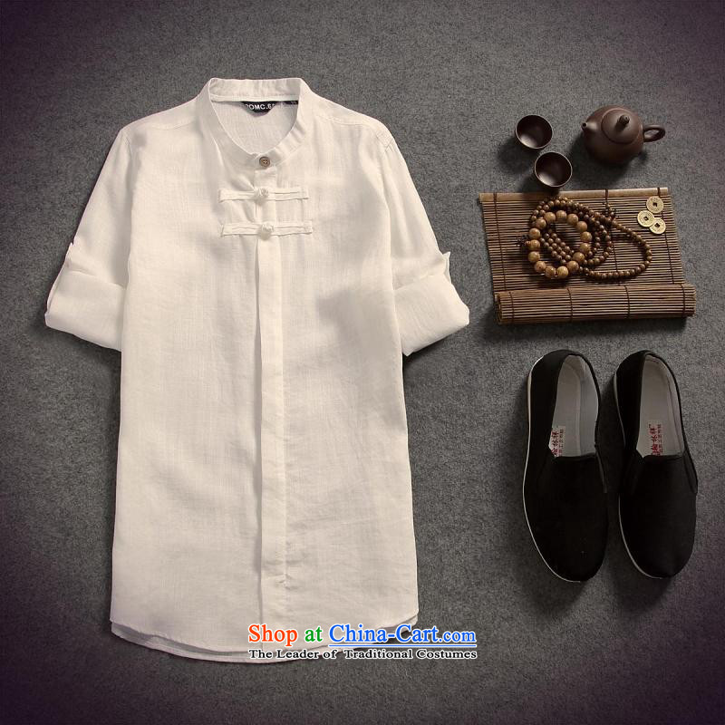 The original intention of China wind up allotted seven points cuff linen men shirt cotton linen Tang Dynasty Chinese tunic retreat at Yi聽M_170 White
