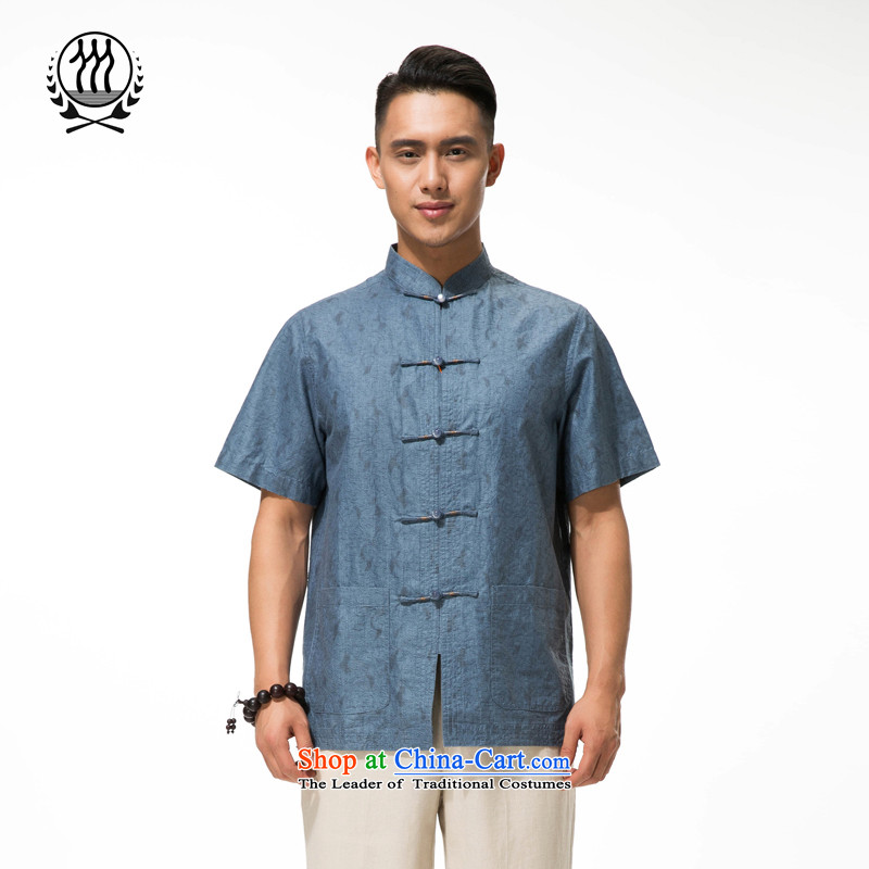 The new summer genuine men cotton linen short-sleeved T-shirt China wind cotton linen collar manually tray clip comfortable cotton linen clothes and comfortable large cotton linen gray-blue?XXL/185 load Dad