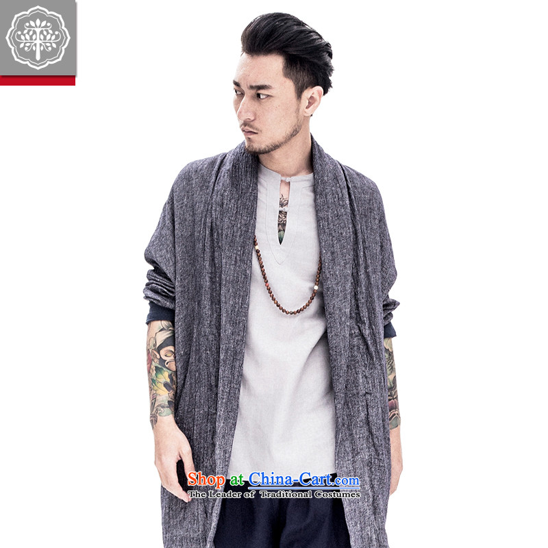 To male Han-tree improvement of Tang Dynasty male long-sleeved sweater cotton linen men Chinese original spring and summer male China wind ma brown聽175/L, intended tree (EYENSREE) , , , shopping on the Internet