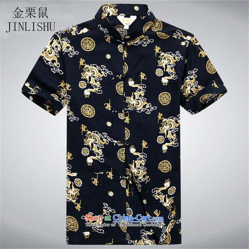 Kanaguri Tang dynasty and the summer mouse shirt of older persons in the Han-China wind men's grandfather in his shirt-sleeves black?L