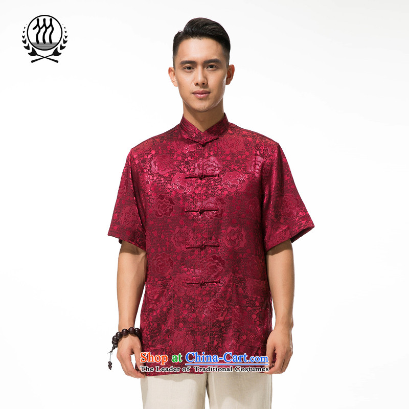 Bosnia and the new summer line thre middle-aged short-sleeved T-shirt Tang dynasty China wind load dad stamp Tang dynasty Mock-neck manually disc clip relaxd fit short-sleeved T-shirt dark red L/175