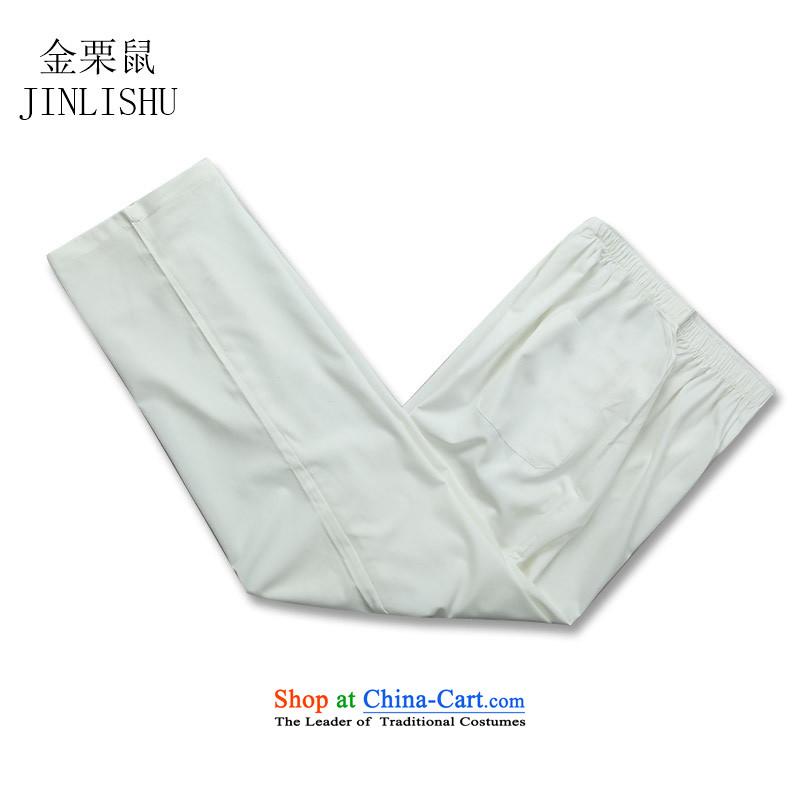Kanaguri mouse summer) older short-sleeved Tang Dynasty Chinese father casual kit men Han-jogging shirt white kit聽S kanaguri mouse (JINLISHU) , , , shopping on the Internet