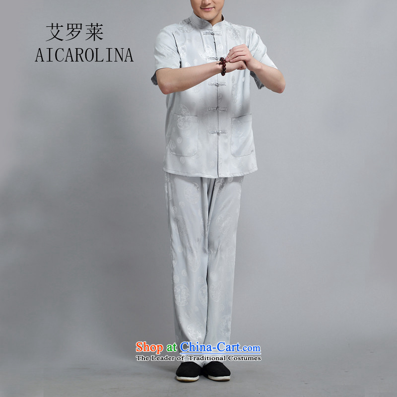 Hiv Rollet Chinese collar of older persons in the Tang dynasty and short-sleeved men Han-ball-Service kit for summer DAD package Light Gray?4XL