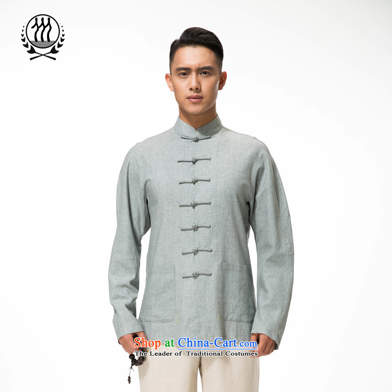 Bosnia and thre line Tang dynasty pure colors of the middle-aged long-sleeved shirt collar up ethnic clip cotton linen long-sleeved T-shirt and gray-blue燲L_180