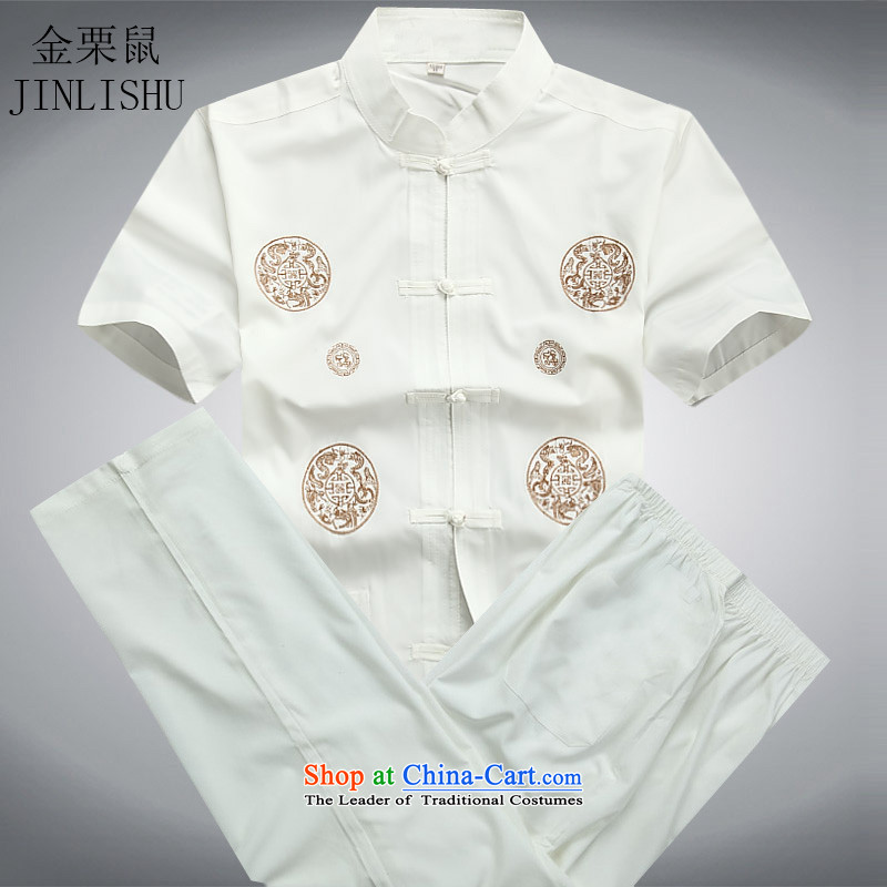 Kanaguri Mouse middle-aged men Tang dynasty short-sleeved shirt collar packaged in older men summer casual shirt with national costumes white father Kit聽L