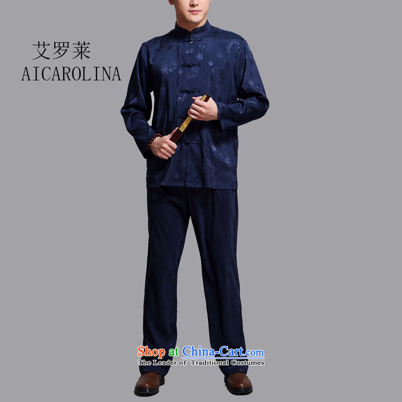 Rollet HIV from older men long-sleeved Tang dynasty China wind older leisure wears martial shirt jogs Han-blue聽XL