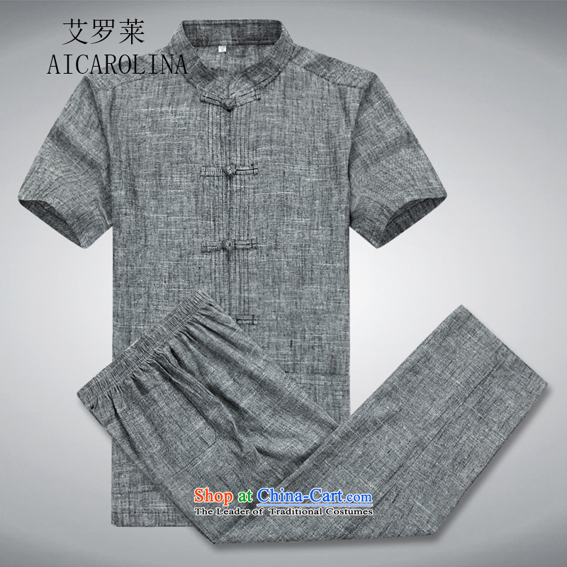 Hiv Rollet short-sleeve packaged in Tang Dynasty older men Chinese leisure Mock-Neck Shirt clip-Dark gray disk pack聽XL