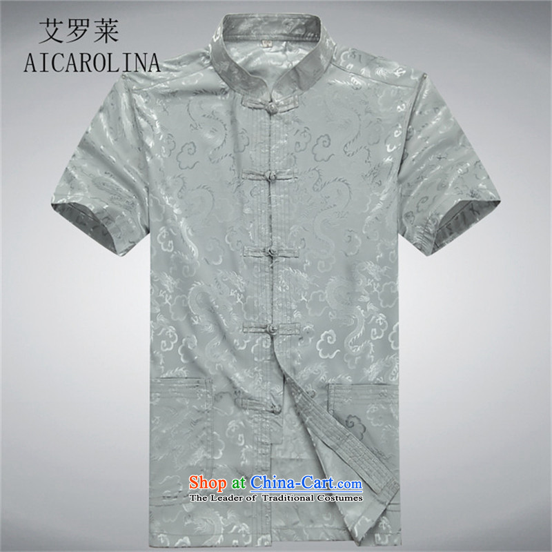 Hiv Rollet men short-sleeved Tang Dynasty Package for older peoples Han-Chinese Men's Shirt ball-summer gray shirt Tsing燲XL