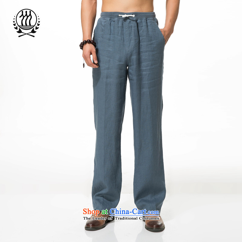 Men cotton linen pants in the liberal leisure older summer cotton linen leisure relaxd elastic strap trousers ethnic cotton linen pant XA-122  XXXL_190 gray-blue