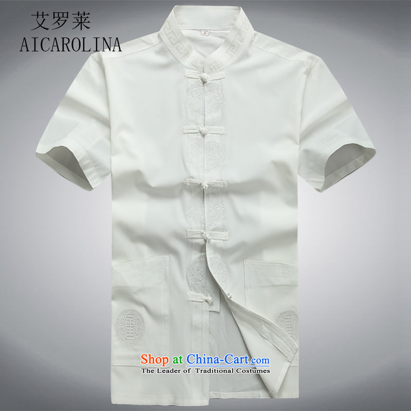 Rollet HIV from older men short-sleeved Tang Dynasty Package Xia men of Chinese national costumes grandpa replacing tai chi exercise clothing white shirt聽S