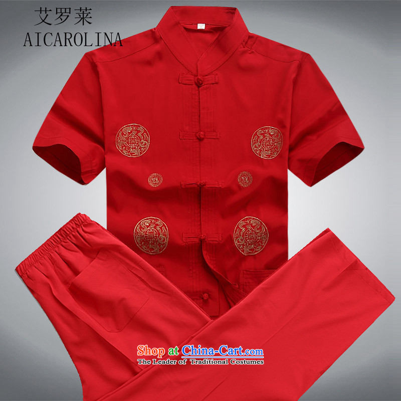 Hiv Rollet men Tang Dynasty Package Summer Chinese Short-Sleeve Men in older blouses grandpa replacing summer red kit燲XL