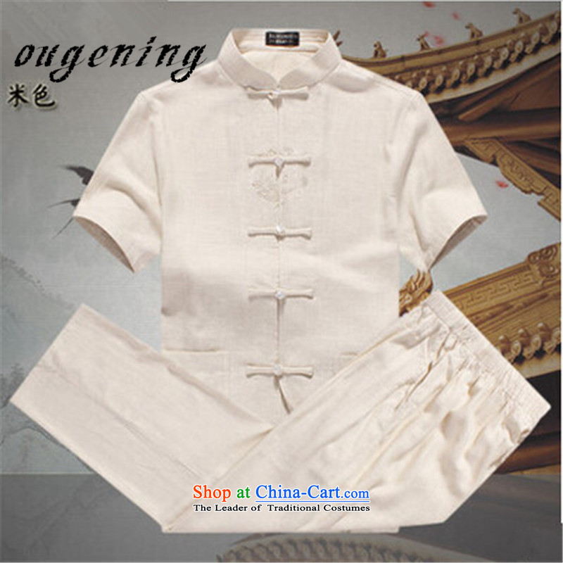 The name of the 2015 summer of the OSCE, men China wind leisure suite Tang dynasty men linen short-sleeved elderly father replace linen tunic summer beige聽M