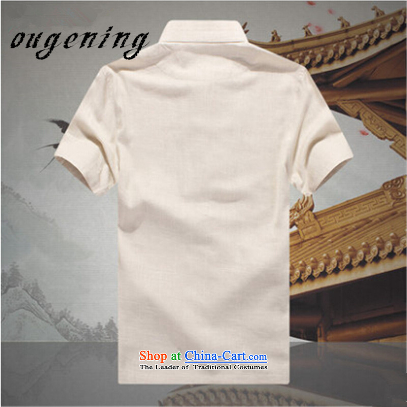 The name of the 2015 summer of the OSCE, men China wind leisure suite Tang dynasty men linen short-sleeved elderly father replace linen tunic summer beige聽M, OSCE, lemonade (ougening) , , , shopping on the Internet