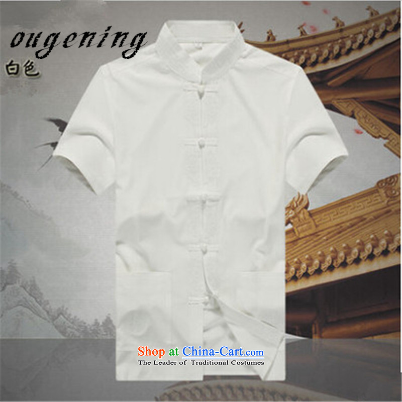 The OSCE, 2015 summer, ethnic lemonade wind men cotton shirt Chinese Tang cotton short-sleeved shirt brick male father China wind from older cotton short-sleeved red聽S165/84, summer Europe (ougening lemonade Grid) , , , shopping on the Internet