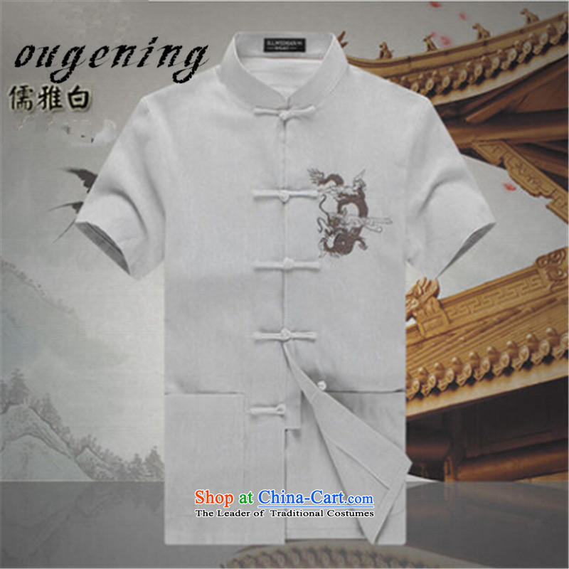 The OSCE, 2015 summer, China lemonade wind men cotton linen Tang dynasty men father of older short-sleeved shirt linen blacklead ethnic summer shirt�XXL185/100 White