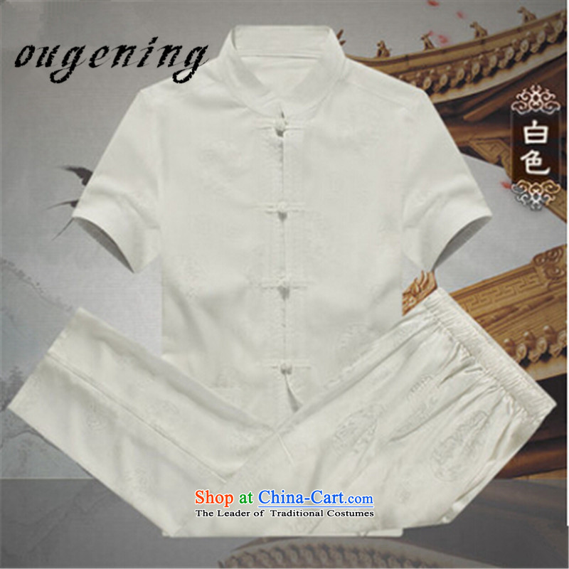 The name of the 2015 summer of the OSCE, men's shirts in Tang Dynasty cotton linen package for older men, linen lining short-sleeved shirt of ethnic Chinese and Cuban wind white men S