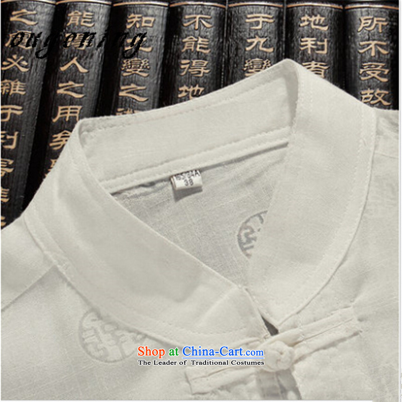 The name of the 2015 summer of the OSCE, men's shirts in Tang Dynasty cotton linen package for older men, linen lining short-sleeved shirt wind of ethnic Chinese and Cuban men S, Europe, white kaffir lime (ougening) , , , shopping on the Internet
