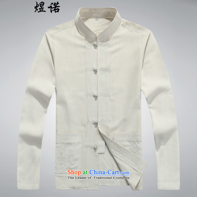 Familiar with the spring and fall of older men's Mock-neck Tang dynasty _ in long-sleeved cuff older men's shirts embroidery father replacing large shirts linen  Tang blouses large beige聽L_175