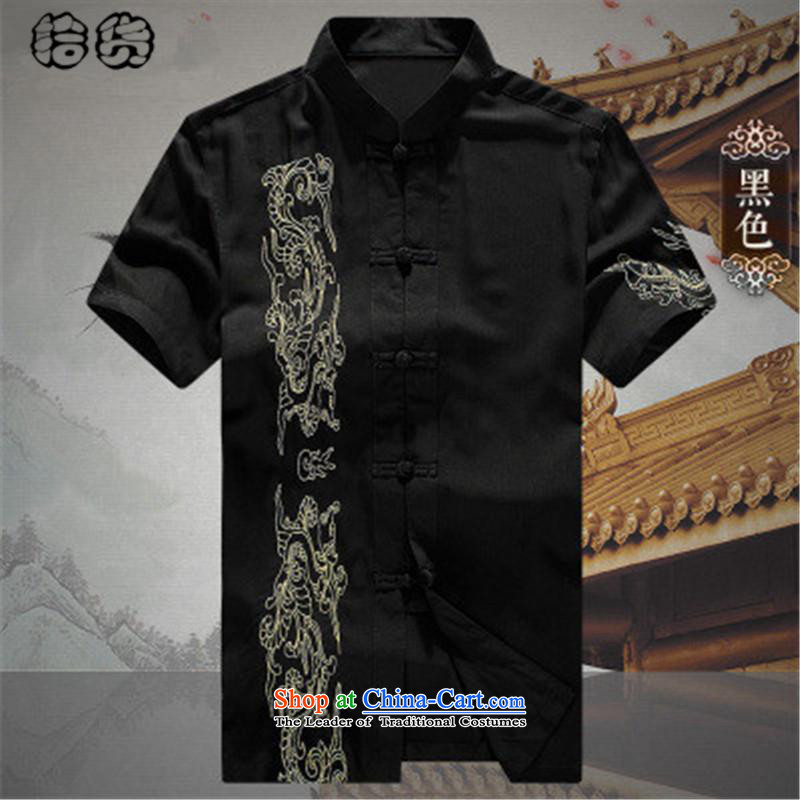The OSCE, in the summer of 2015, the name of the older short-sleeved Tang dynasty male summer men summer Chinese embroidery national costumes grandpa summer father Han-T-shirt Black聽185
