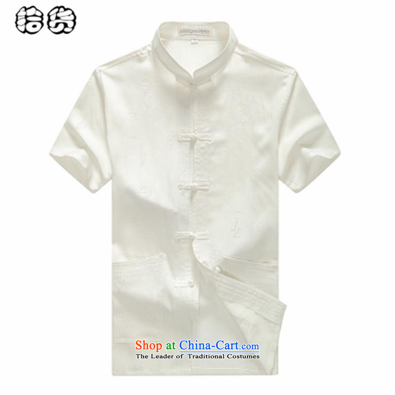 The name of the 2015 summer of the OSCE, Han-summer men Tang casual large short-sleeved of older persons in the linen clothes grandfather men father summer White聽185