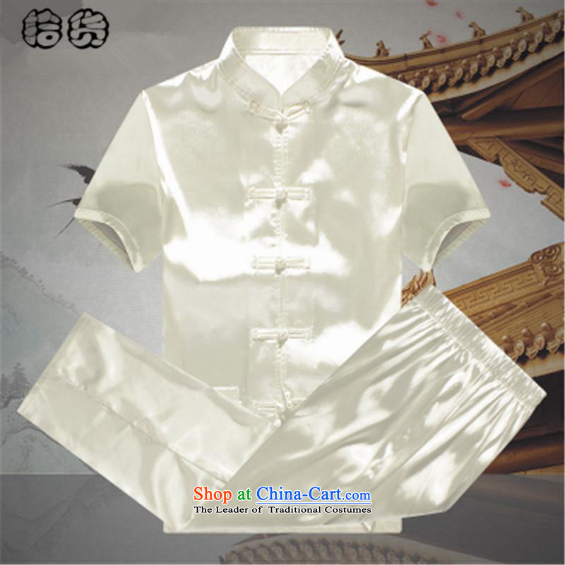 The name of the 2015 summer of the OSCE, men Tang Dynasty Package summer short-sleeved emulation silk of older persons in the elderly men's father and grandfather Tang dynasty China wind summer White�0