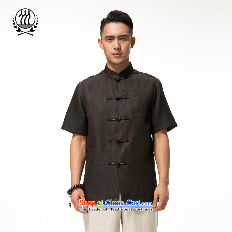 Bosnia and thre line short-sleeved Tang dynasty summer new men incense cloud male silk yarn Tang dynasty in his shirt-sleeves blouse of older men Tang dynasty men cloud of incense yarn Tang dynasty short-sleeved brown燲L_180