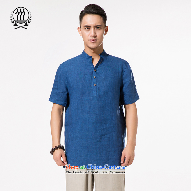 China wind summer men of ramie short-sleeved T-shirt and chinese collar ramie short-sleeved relaxd fit larger men father cotton linen short-sleeved T-shirt M/170 blue