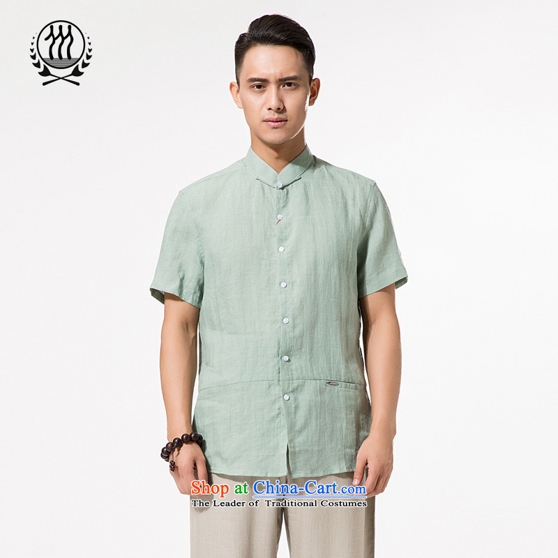 China wind summer ramie short-sleeved T-shirt, older men of ramie Tang dynasty xl men cotton linen collar summer, short-sleeved T-shirt cotton linen with light green XXL/185 Dad