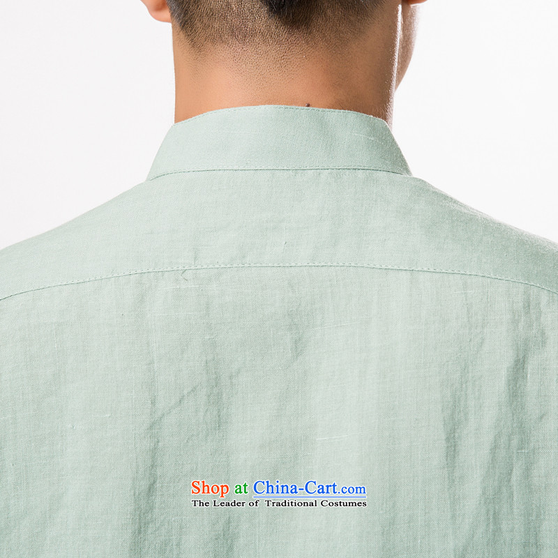 China wind summer ramie short-sleeved T-shirt, older men of ramie Tang dynasty xl men cotton linen collar summer, short-sleeved T-shirt cotton linen father replacing light green聽XXL/185, thre line (gesaxing and Tobago) , , , shopping on the Internet