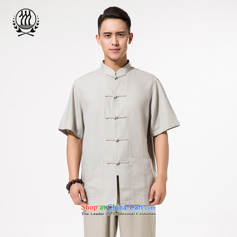 China wind summer men upscale fine ramie Tang dynasty short-sleeved T-shirt Men's Mock-Neck manual disk Chinese Tie ramie short-sleeved T-shirt relaxd fit ramie short-sleeved light gray�XXL/185